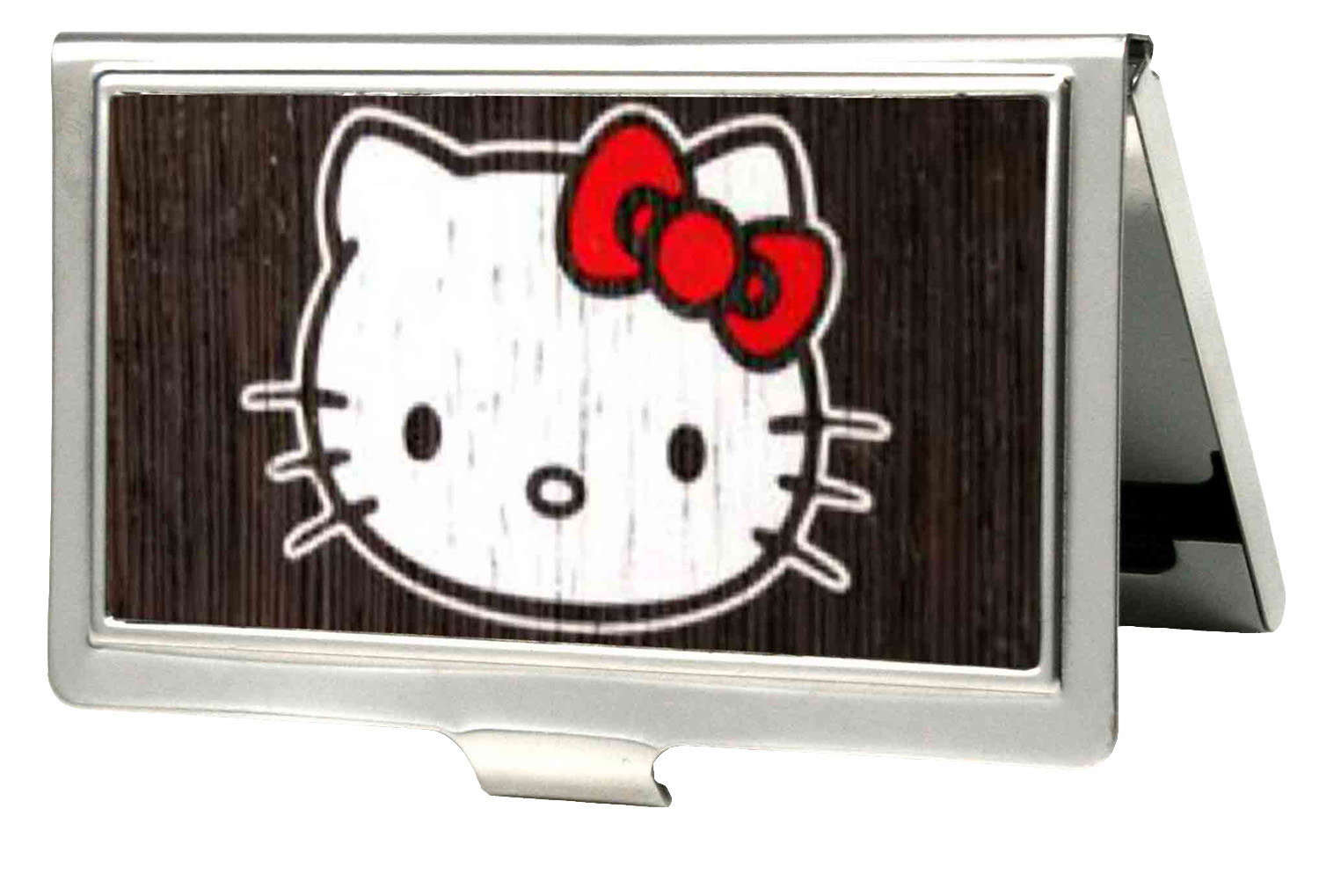 Buckle Down Hello Kitty Animated Character Dark Wood Classic Logo Business Card Holder