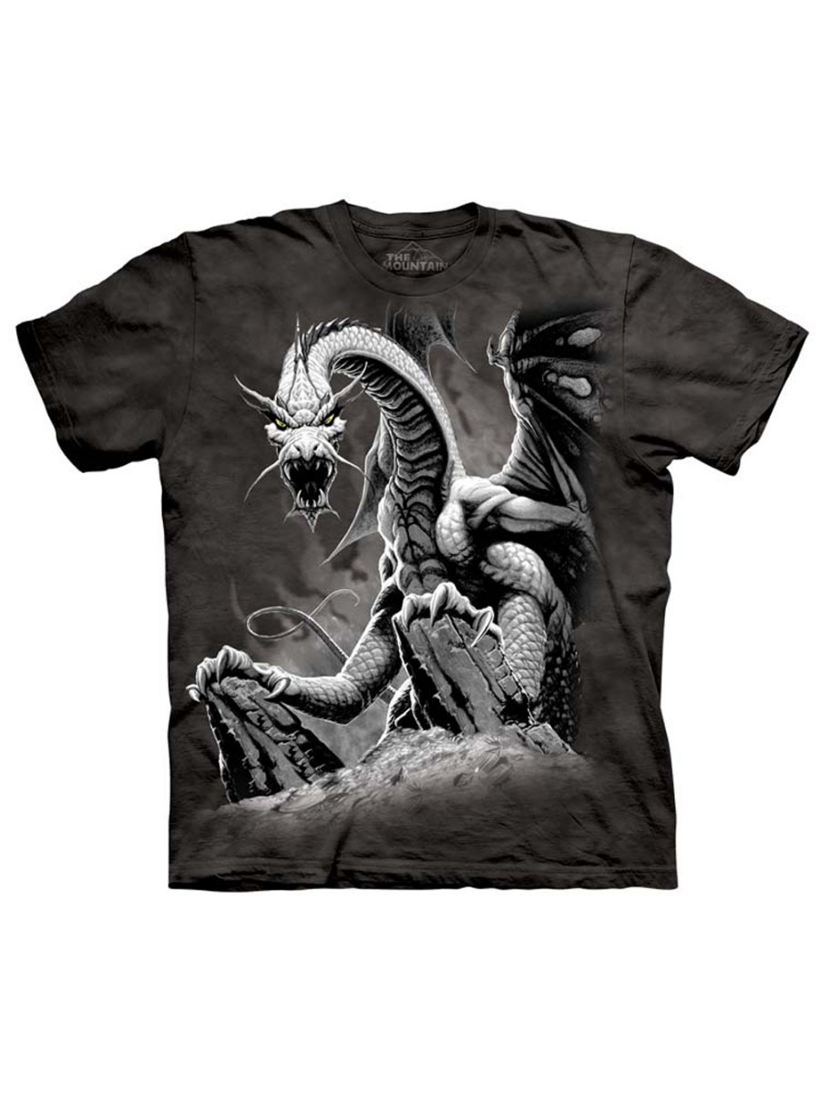 Black Dragon On Attack Adult T-Shirt Tee