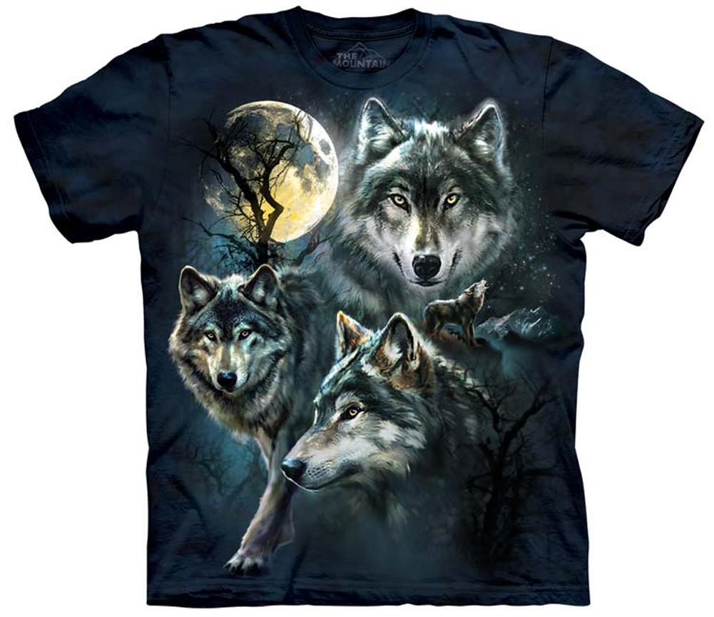 756b33e5182 Three Wolves Wolf Pack Full Moon Adult T-Shirt Tee