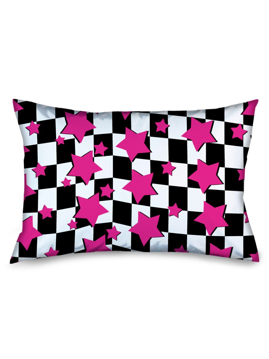 Black And White Checkered Flag Plaid Checkers Pink Stars Pillow Case