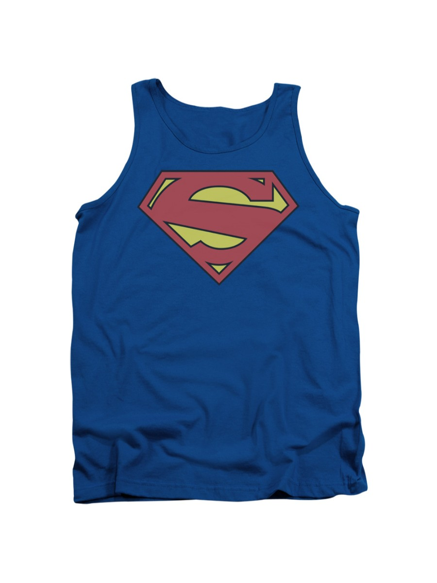 Superman DISTRESSED CAMO SHIELD Licensed Adult Tank Top All Sizes